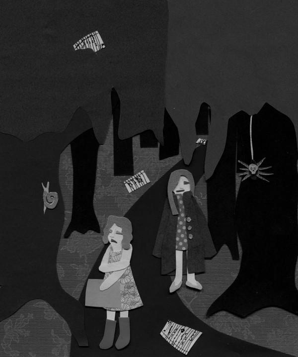 Creepy woods, black and white