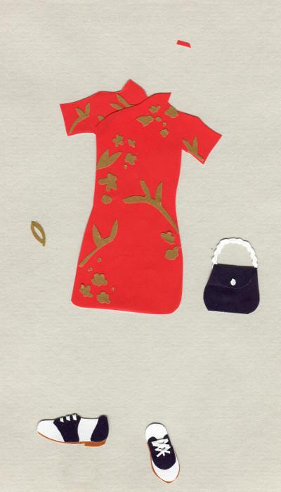 Chinese silk dress, saddle shoes