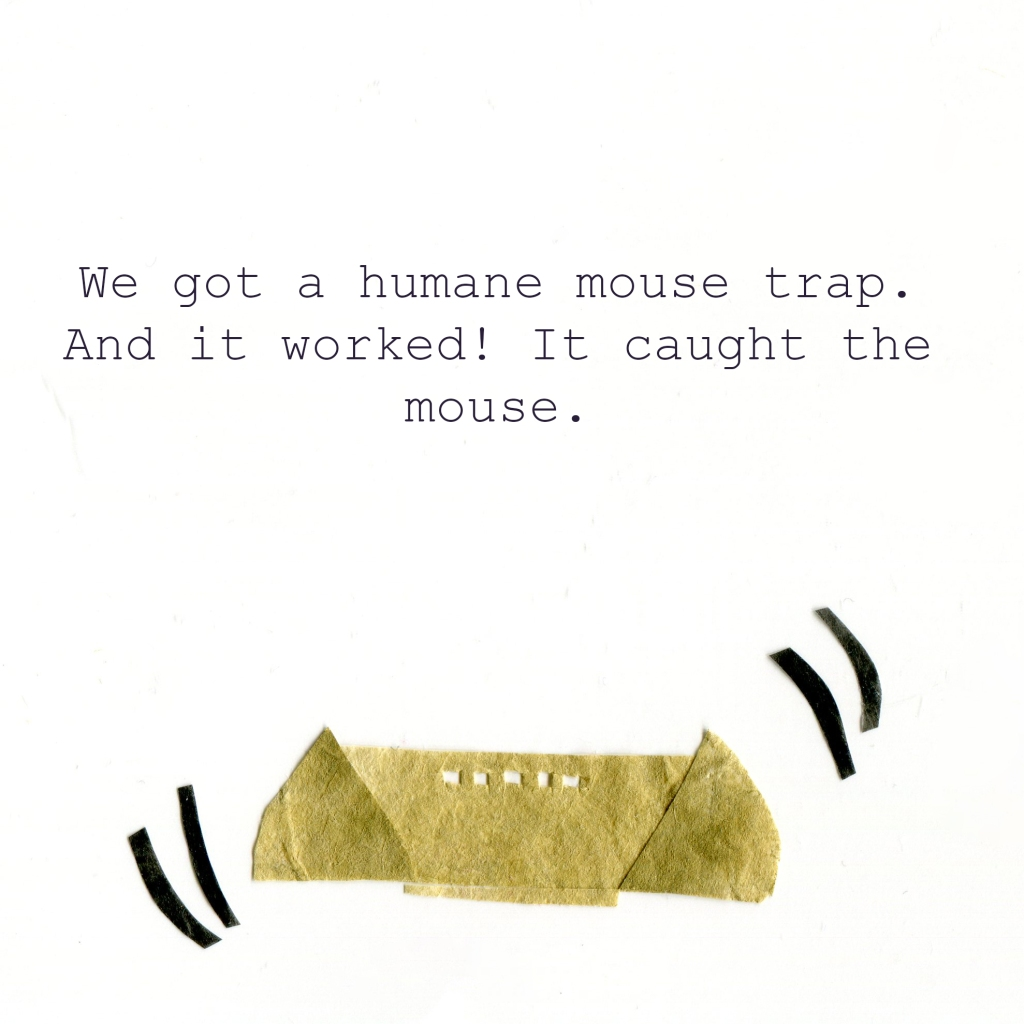 We got a humane mouse trap. And it worked! It caught the mouse. (Illustration of a rattling mouse trap.)