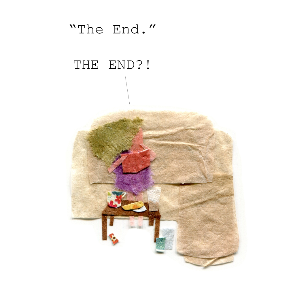 "Woman reading. ""The end. THE END??!"""