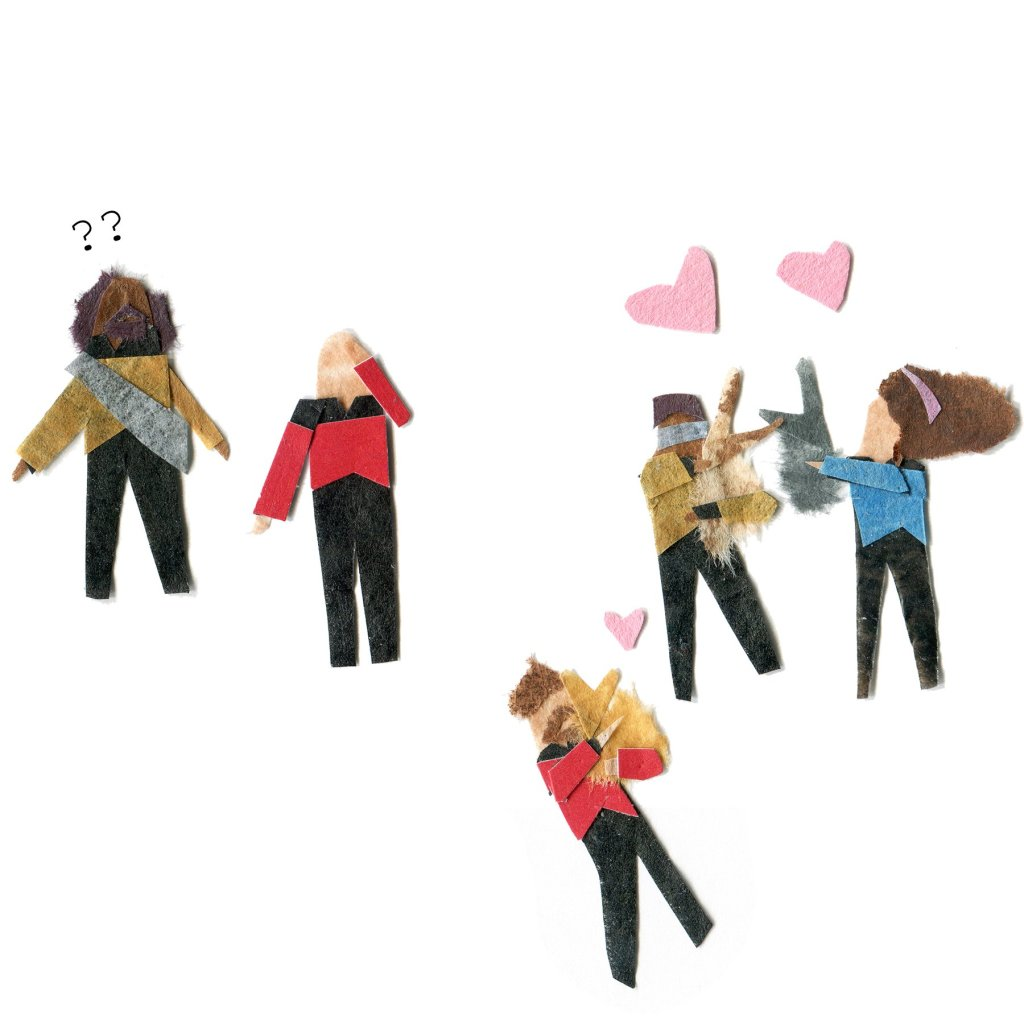 Geordie, Troi, and Riker cuddle bunnies. Picard slaps his forehead. Worf looks confused.