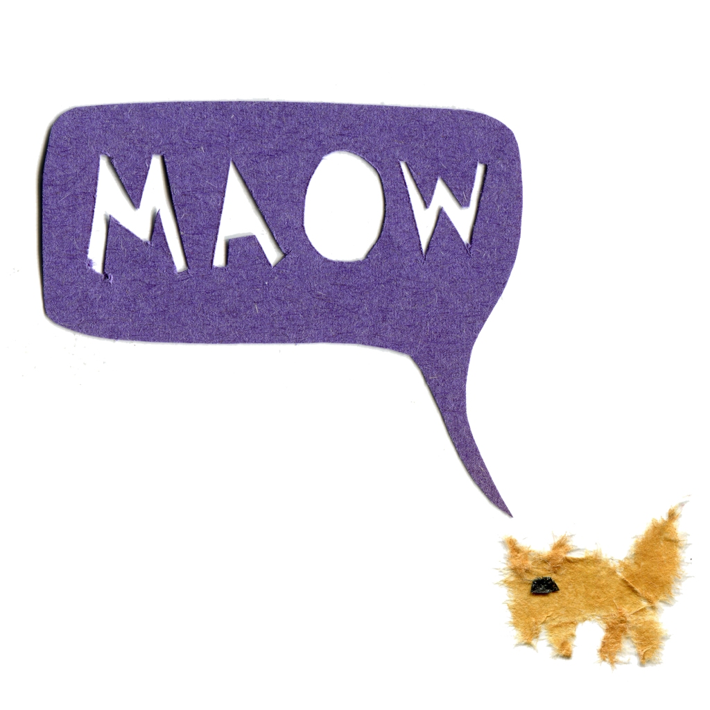 Illustration of a cat saying MAOW