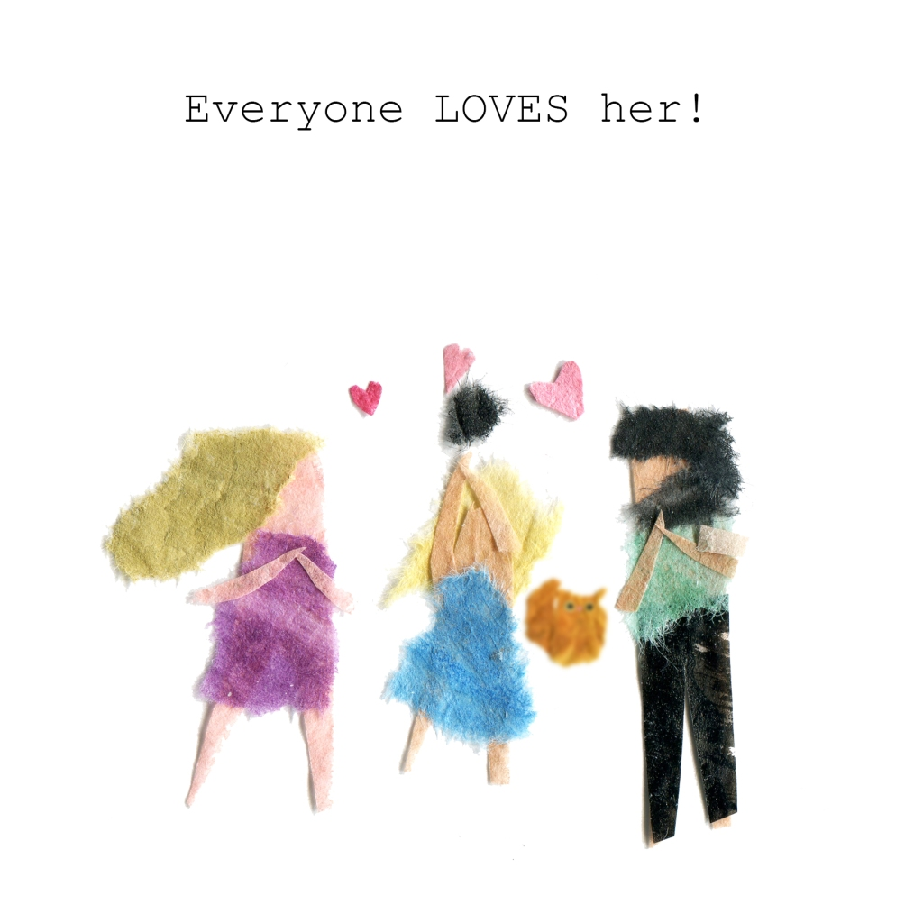 Everyone loves her! Illustration of family loving the hamster. The cat is small and blurry in the distance.